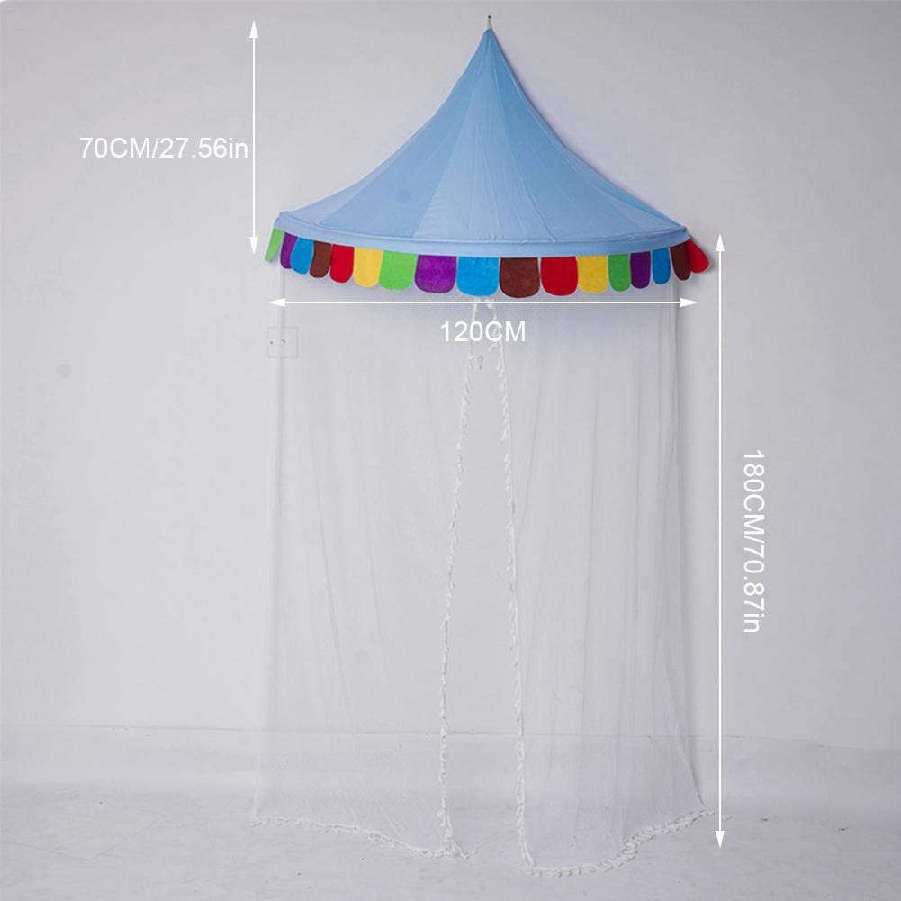 Children Bed Canopy With Mosquito Net Baby Castle Play Tent Round Dome Net Circus Roof Reading Nook Wall Mounting Princess Play Tent For Toddlers Bed Crib Boy Girl Bedroom Decorative Tent
