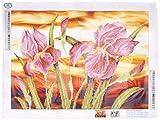 Needleart World DD9.016 23.5'' x 17.75'' Iris Sunset Dotz Diamond Embroidery Facet Art Kit, Multicolor