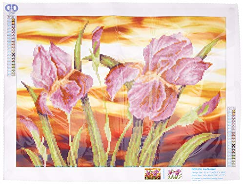 "Needleart World DD9.016 23.5"" x 17.75"" Iris Sunset Dotz Diamond Embroidery Facet Art Kit, Multicolor"