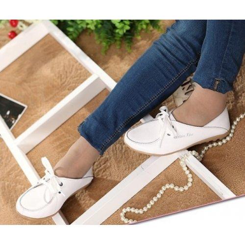 Mocassin femme en cuir, chaussures femme à lacets, chaussures femme en cuir veritable, mocassin femme tendance mode 2015 - blanc, 37