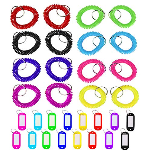 16 Pcs Colorful Coil Stretch Bracelet Keychain & 16 Pcs Key Tags, TuNan Plastic & Spring Spiral Wristband Elastic Key Ring & Coded ID Label Tags with Label Window - 8 Colors