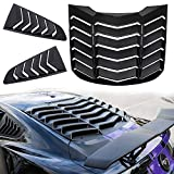Danti Matte Black Rear and Side Window Louvers Sun Shade Cover in GT Lambo Style For Ford Mustang 2015 2016 2017 2018