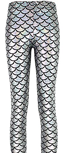 Scale Print (Jescakoo Digital Print Mermaid Fish Scale Shiny Leggings for Women Silver XL)