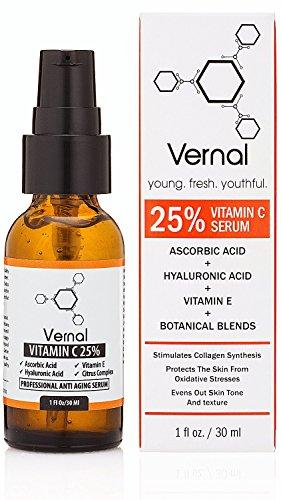 Vernal Anti Aging Serum - une haut Grade 25 % Pure bio vitamine C pour le visage à l'acide hyaluronique. Puissant traitement anti-âge, anti-rides, raffermissement de la peau, détachage sombre et Stimulation du collagène.