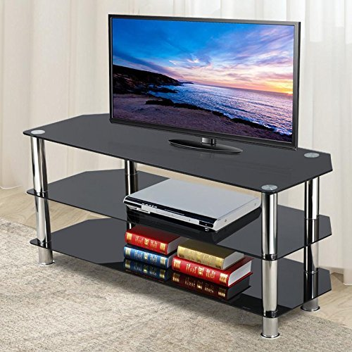 Topeakmart Black Glass Tv Stand Chrome Legs 3 Tier Storage