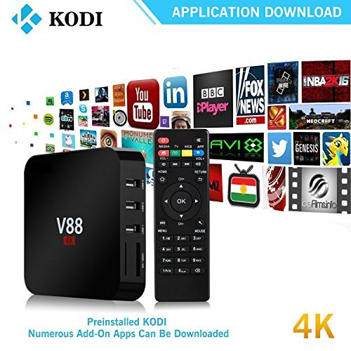 Read About V88 Android TV Box 6.0, 4K 3D Smart TV Moving Box,1080P Media Blue-Ray Player, Rockchip 3...