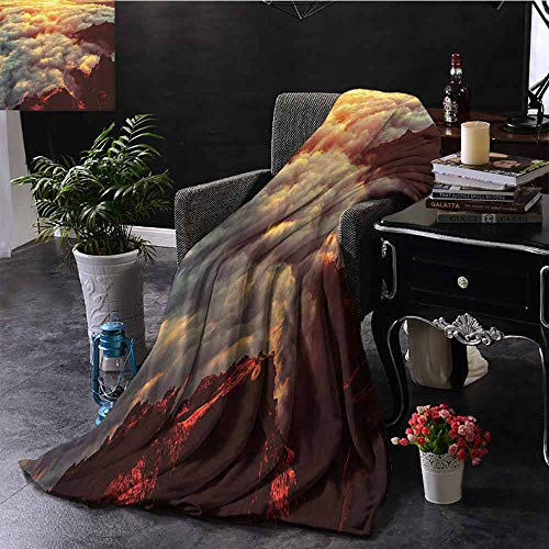 Soft Throw Blanket, Cozy and Durable Apartment Decor Sunset on The Hill Tops Above The Clouds Unusual Extreme Morning Glory Print, 40