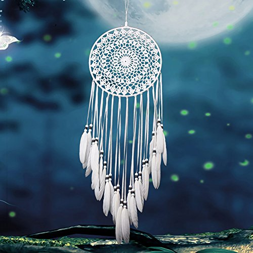 Adarl Home Decor Creative India Style Handmade Dream Catcher With Feather Wall Hanging Ornament Craft Gift White B