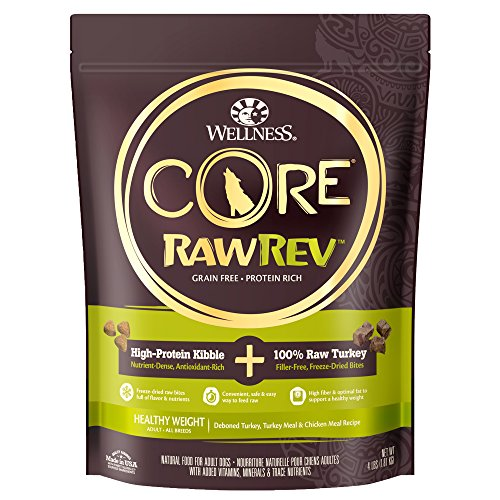 Wellness Core Rawrev Grain Free Natural Dry Dog Food, Healthy Weight Deboned Turkey & Chicken With Freeze Dried Turkey Recipe, 4-Pound Bag