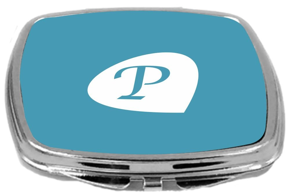 Teal Blue 17 Ounce Rikki Knight Letter P Initial Petal Leaves Design Compact Mirror