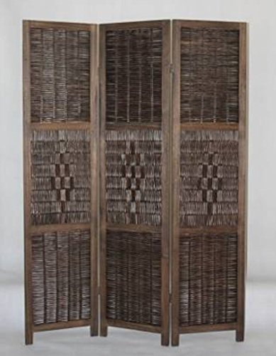 Legacy Decor 3 Panel, Espresso Color Bamboo and Wood Screen Room Divider, Weave Design with a Diamond Shaped Accent