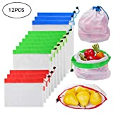Reusable Mesh Produce Bags Set of 12, HBlife Eco Friendly Washable Grocery Bags Shopping Bags with Tare Weight on Tags for Grocery Shopping Storage Fruit Vegetable and Toys - Three Large 12x17in, Six Medium 12x14in, and Three Small 12x8in