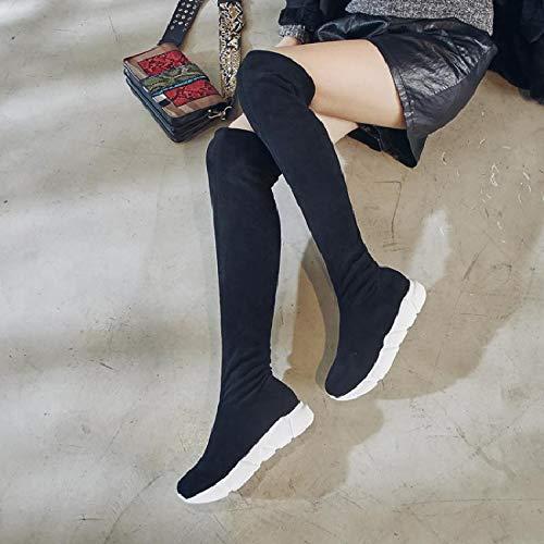 TSNMNB Europa y los Estados Unidos pastel de pino de invierno estufa de espesor grueso estirar botas rodilla de mujer botas de gamuza de cuero más botas altas de terciopelo, 36, color de frijol tubo c