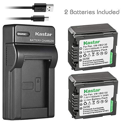 Kastar Battery (X2) & Slim USB Charger for Panasonic VW-VBG070, VW-VBG130, VWVBG260 and SDR-H40, SDR-H80 Series, HDC-HS700, TM700, HS300, TM300, HS250, SD20, HS20, HDC-SDT750 Camcorders etc.
