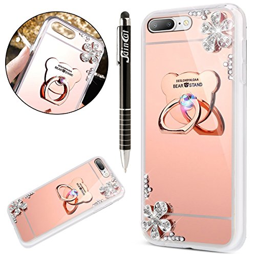 Funda iPhone 7 Plus/8 Plus 5.5,Saincat TPU Silicona Carcasa Caso Diamante Piedras de Strass Brillo Bling Flores Espejo Funda Mirror Case con Ring Stand Holder Bumper Case Cover para Apple iPhone 7 Plu Oro rosa