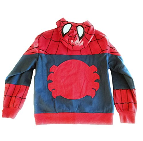 Boys Marvel Spiderman Hoodie Jacket with Spider Applique on Back & Mesh Eye Mask Small