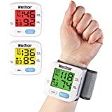 WrisTech Blood Pressure Monitor with Adjustable Wrist Cuff and Color Changing LCD Monitor