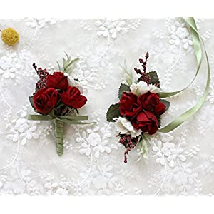 Prettybuy 2 PCS Boutonniere Wrist Corsages Set Red Hand Flower for Wedding Prom, Party, Homecoming Suit Decoration 56