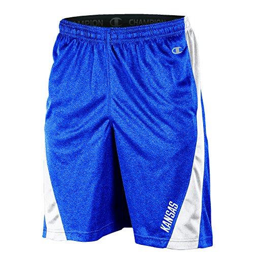 Champion NCAA Kansas Jayhawks Adult Men Training Short with Contr, X-Large, Blue - Jayhawks Athletics Kansas
