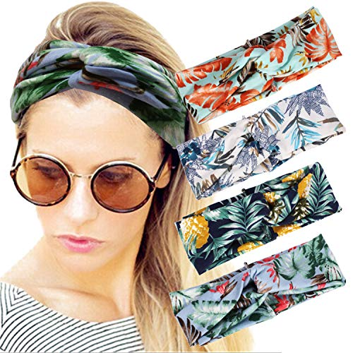 4 Pack Women Headband Boho Floal Style Criss Cross Head Wrap Hair Band - Winter Hat In Worn