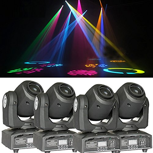4PCS DMX-512 Mini Moving Head Light RGBW LED Stage PAR Light with Shapes Automatic Professional 9/11 Channel Party Disco Show AC 100-240V Sound Active by lawkiaa