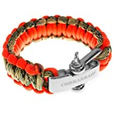 Premium 550 Paracord Survival Bracelet With Stainless Steel Adjustable Shackle - Fits Sizes 7-8 Inch Wrists - Camo and Orange