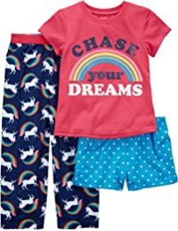 Girls 3-Piece Cotton Pajamas