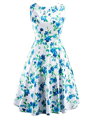 Vestido Sin Mangas de Cuello Redondo Vintage 50S Hepburn Con Estampado de Flores para Mujer Verde