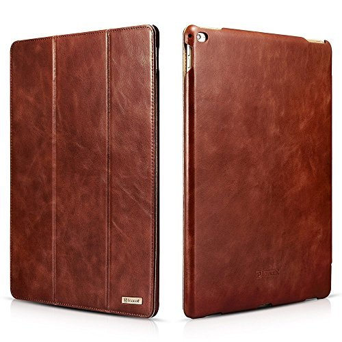 iPad Pro Leather Case, RUIHUI® Vintage Series Genuine Leather Flip Cover Folio Case Slim Leather Case Stand Function Smart Cover with [Auto Wake/ Sleep] Function for Apple iPad Pro (Brown)