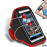 NOKIA N8 RED + EARPHONE Adjustable Armband Sport Gym Bike Cycle Running Jogging Sports Case Cover Holder Pouch (AA) with EAR BUDS Stereo Hands Free BY SHUKAN®