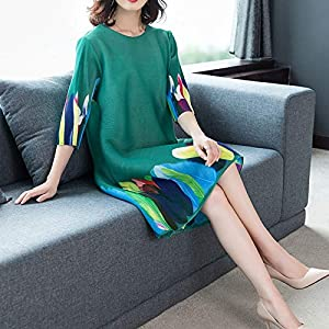 Women Dress LGMIN an Impression On Letter in Dress with Sleeves Loose Age Pleated Large Size New in 2020