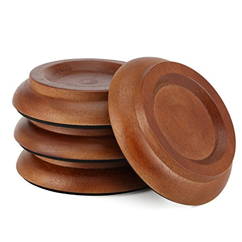 Moukey Hardwood Piano Caster Cups Floor Protector 4-Pack Solid Caster For Upright Piano Non-Slip & Anti-Noise Foot Pad Brown Color With Cleaning Cloth ()