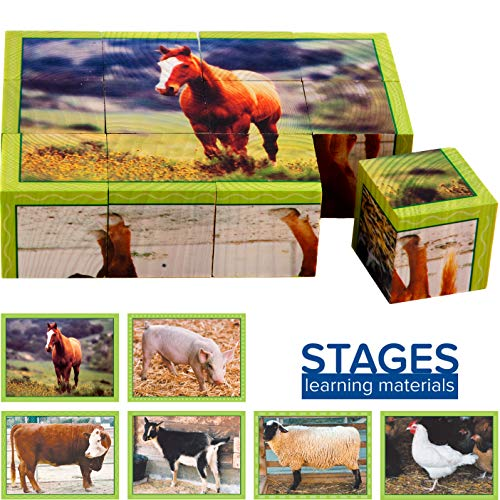 Stages Learning Wooden Farm Animal Cube Puzzle for Preschool Language Builder