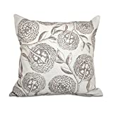 E by design O5PFN493TA8GY2-16 16 x 16'' Antique Flowers Floral Brown Outdoor Pillow