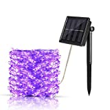 Aurora Solar String Lights, Ourtdoor Waterproof Starry Fairy Lights, 66 feet 8 Mode 200 LED 8 Modes Copper Wire Ambient Decorative Rope Lights for Garden Christmas Tree Patio Lawn Party Home (Purple)