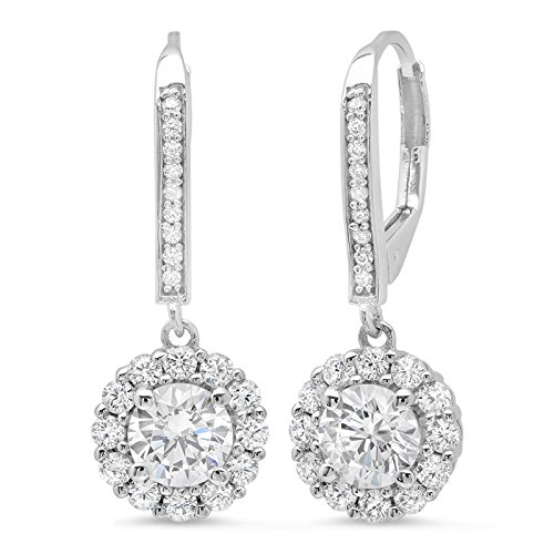 (Clara Pucci 3.40 CT ROUND CUT Solitaire Halo PAVE DROP DANGLE LEVERBACK EARRINGS 14K White GOLD )