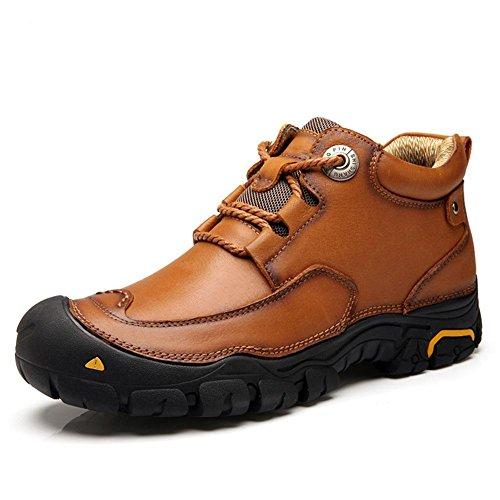 Hombres Estampación Tobillo Botas Otoño Invierno Ocio Hecho a mano Suave Cuero Zapatos Negro marrón Al aire libre Antideslizante Grande tamaño Brown