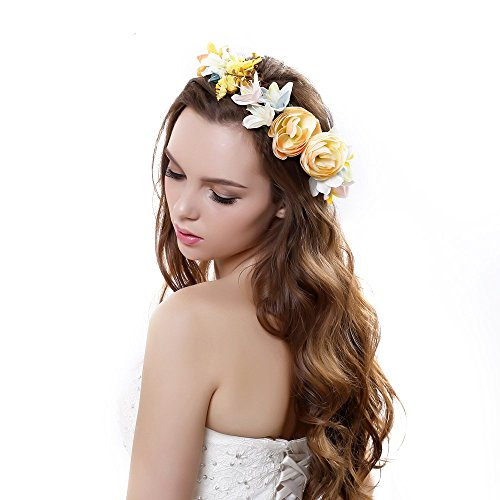 Exquisite Rose Flower Crown Headband with Adjustable Ribbon for Wedding