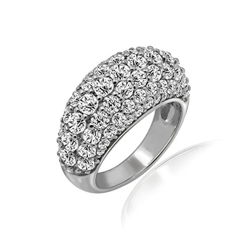 - Diamonbliss Sterling Silver or 14K Gold Cubic Zirconia Clad Domed Pave Band Ring - Sterling Silver, Size 5