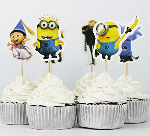 24pcs Despicable Me Gru minion Cupcake Topper Picks,birthday/wedding party decorations,kids evnent party favors,Party (Minion Gru)