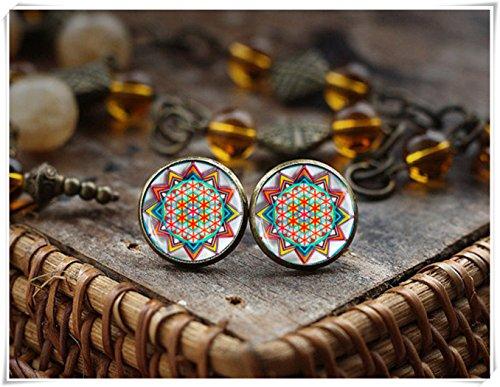 Oriental Ornaments earrings, Boho Chic stud earrings, flower of life mandala earrings, Colorful Post Earings, Glass Dome Earrings (Flower Glass Ornament)
