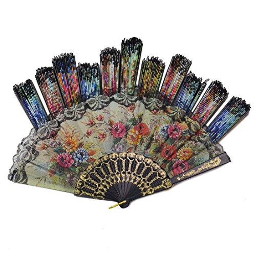 Windspeed Spanish Women Floral Folding Hand Fan Size 9'' Pack of 10 Pieces Random Color by Windspeed (Image #3)