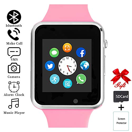 Smart Watch,Unlocked Smartwatch Compatible with Bluetooth/Android/iOS (Partial Functions) Touchscreen Call Text Camera Music Player Notification Sync Smart Watches for Women Men Kids - Player Watch Ladies Pink