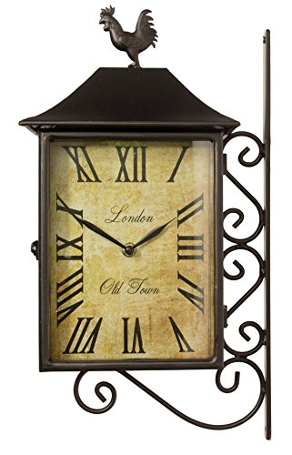 About Time 42cm Double Sided Rectangular Railway Station Cockerel Garden Clock & Thermometer Primrose AHGRD005103