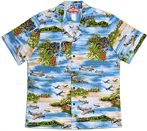 - RJC Men's Hawaiian Island Airplane Shirt, Blue, 3X