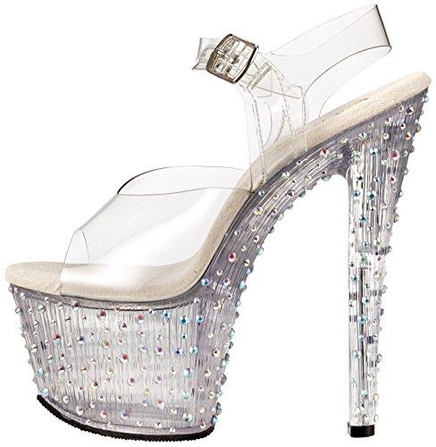Transparente Pleaser m Stardance 708 Para Mujer Plataforma Con Sandalias transparent C gP0fq1Sg