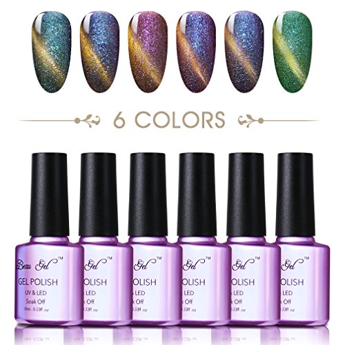 Color changing cat eye gel nail polish, Beau Gel UV LED 3D Chameleon mood magnet polish with Nail Magnet Stick (6 Colors) #03