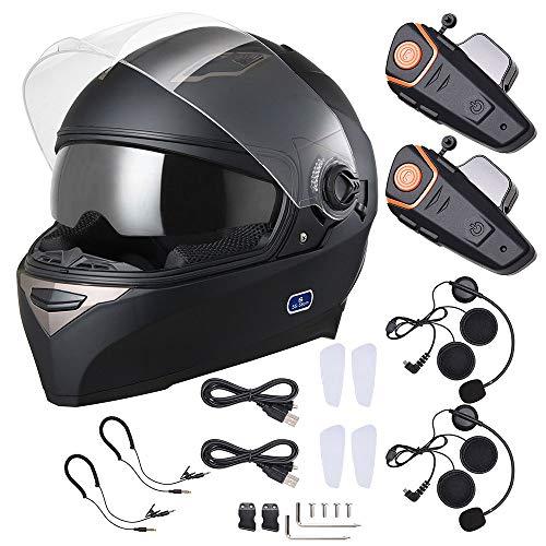 AHR DOT Bluetooth Full Face Helmet 2 Visors Air Vent with Bluetooth Headphone Intercom 2-3 Riders 1000m Set S