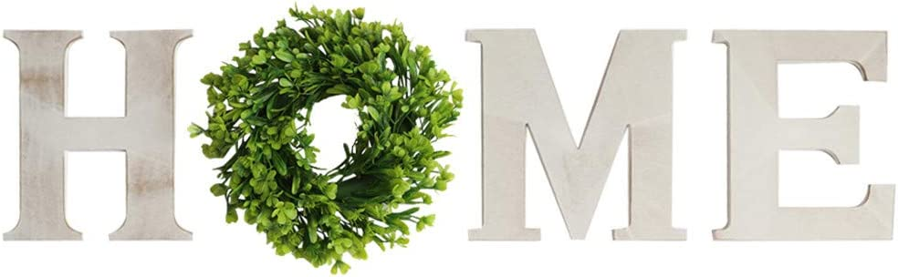 Adeeing Wooden Home Sign with Wreath as O Home Letters for Wall Decor Rustic Farmhouse Wall Hanging Wood Home Sign for Living Room Bedroom Entry Way Kitchen (Vintage White)
