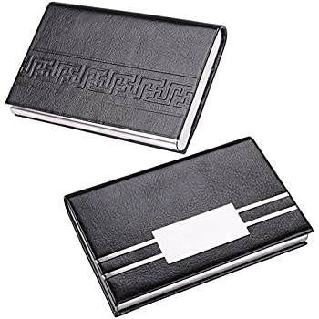 Professional Business Card Holder Leather Credit Card Case with Magnetic  Stainless Steel Closure,2 Pack (Retro)